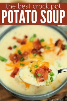 Are you looking for an Easy Crock Pot Potato Soup recipe? Slow Cooker Potato Soup is the best comfort food and so simple. Try Crock pot loaded potato soup. #eatingonadime #potatosoup #crockpotsoup #slowcookersoup #bestsoup