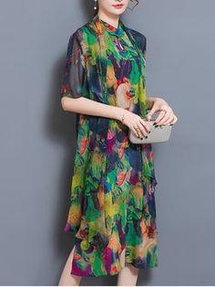 Vestido de dos piezas vintage estampado abstracto multicolor