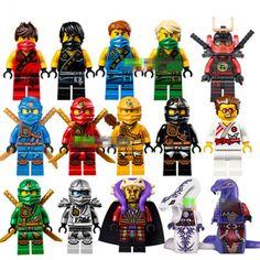 15pcs/Lot NINJAGO Minifigures Cole Kai Jay Lloyd Nya Skylor Zane Pythor Chen Building Blocks Figures Toys Compatible With Lego