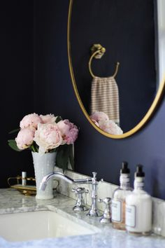Our navy guest bathroom