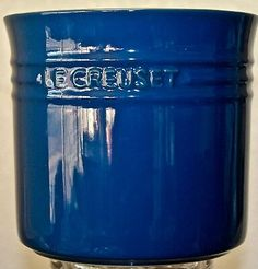 LE CREUSET UTENCIL CROCK 17-18 BLUE STONEWARE 6IN 2.75QT NEW  | eBay Le Creuset Stoneware, St Kitts, Trinidad And Tobago, Crock, Entertaining, Microwave Oven, Gold Fashion, Blue, Freezer
