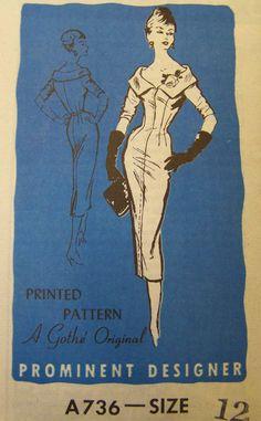 Винтажный 1950-х годов известным дизайнером знак коктейльное платье выкройка посылочной СЗ 12 неиспользованный