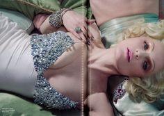 Marilyn Monroe style, Ermann oScevino FW1516 crystal satin slip dress in Numero France October #ScervinoEditorials #ErmannoScervino