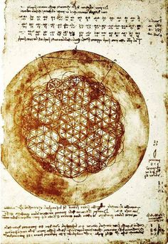 Leonardo da Vinci's Principles for a Complete Mind: 1) Science of art. 2) Art of science. 3) Learn to see. 4) Realize everything connects to everything. / Sacred Geometry <3