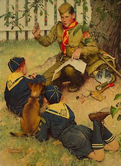 Norman Rockwell paintings for Boy Scouts of America. Image courtesy of artist Howard Lyon. Norman Rockwell Prints, Norman Rockwell Paintings, The Saturdays, Scouts Of America, Cub Scouts, American Artists, Illustrators, Retro, Sketches