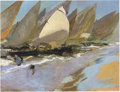 Fishing Boats by Joaquin Sorolla Y Bastida - Canvas Art Print Paintings I Love, Seascape Paintings, Landscape Paintings, Oil Paintings, Spanish Painters, Spanish Artists, Oil Canvas, Canvas Art Prints, Pablo Picasso