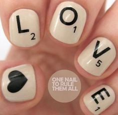Scrabble Valentine Nails