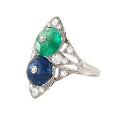 Vintage Art Deco Rare Indian Sapphire & Emerald & Diamond Ring