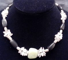 Items similar to Quartz, Howlite, and Blackstone Necklace with Silver Accents and Jade Centerpiece on Etsy Craft Items, Centerpiece, Jade, Pearl Necklace, Quartz, Pearls, Silver, Etsy, Jewelry