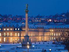 Schlossplatz Stuttgart im Schnee, © Werner Dieterich