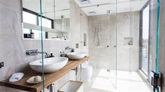 This stylish bathroom appeared on The Block Fans vs. It features the Digi Marble Pearl tile from Beaumont Tiles. Ensuite Bathrooms, Bathroom Renos, Laundry In Bathroom, Master Bathroom, Bathroom Taps, Beach Bathrooms, Contemporary Bathrooms, Small Bathroom, Bathroom Inspo