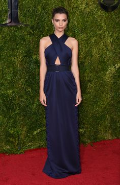 Emily Ratajkowski in a crossover navy Marc Jacobs dress for the 2015 Tony Awards in NYC. Crushing hard on the hair, make-up, and those cheekbones, too.