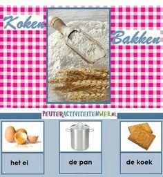 Woordkaarten thema koken & bakken www.peuteractiviteitenweb.nl