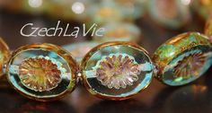 NEW Czech Carved Ovals Green aqua with picasso 0546 by CzechLaVie, $2.45