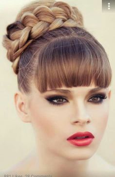 Braided bun with bangs