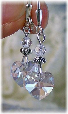 New w/Swarovski Clear Heart Crystal Pendant Dangle Earrings #HisJewelsCreationsDesign #DropDangle