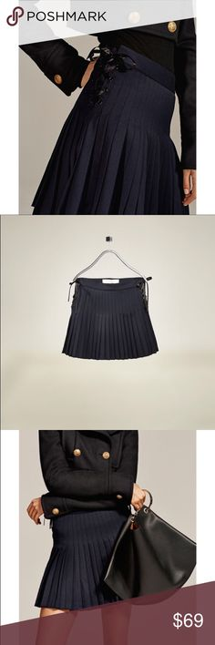 Zara Woman Studio pleated skirt navy blue new M Beautiful skirt from Zara Studio collection, sold out in stores size M. Looks like on pics from online. Will look great with over the knee boots size M. Cute detail - laces on the sides will allow You to adjust the skirt Zara Skirts Mini
