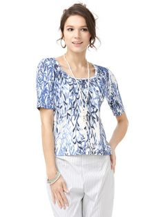 Les Copains BLUE - stretch print round neck short sleeves cut-and-sew