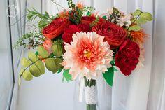 Wedding bouquet, Bridal bouquet, Red, orange, green colors, Ranunkulyus Peonies bouquet, home decor, Mother's day by eteniren on Etsy