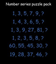 Brain teaser - Number And Math Puzzle - number series puzzle pack - Number series puzzle pack for you. Can you solve these six different number series, each with different keys?