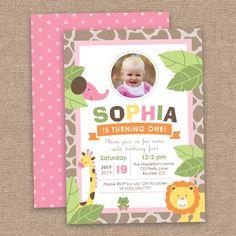 First Girl Jungle Birthday Invitation, Safari Animals, DIY Printable