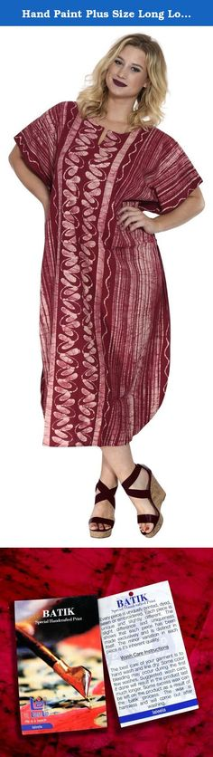 "Hand Paint Plus Size Long Lounge Caftan Women Beach Kimono 100% Cotton Maroon Valentines Day Gifts 2017. Description:- ==> Welcome to LA LEELA ==> Enjoy Beach, Breeze and Nature with La Leela's ""VIBRANT BEACH COLLECTION"" and stay calm and classy! . ==> Fabric : 100% COTTON HAND MADE BATIK PRODUCT INDIVIDUALLY MADE AND IS UNIQUE US Size : From Regular 14 (L) TO Plus Size 18W (2X) ➤ UK SIZE : FROM REGULAR 14 (M) TO 22 (XL) ➤ BUST : 46 Inches [ 116 cms ]➤ Length : 66 Inches [ 167 cms ] ==>..."