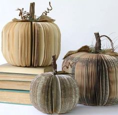 These vintage book pumpkins are the perfect Halloween decorations for a teacher, librarian, book lover or favorite vintage friend. Make space for it on your bookshelf at home or set out as part of … Old Book Crafts, Book Page Crafts, Fall Halloween, Halloween Crafts, Halloween Decorations, Happy Halloween, Book Decorations, Halloween Books, Halloween Pumpkins
