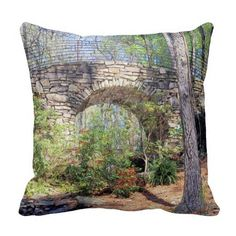 "Bridge of the Full Moon Throw Pillows, with digitally rendered ""watercolor"" image from photograph shot during a spring visit to Garvan Woodland Gardens in Hot Springs, Arkansas. (http://www.zazzle.com/bridge_of_the_full_moon_throw_pillows-189303220234423192?rf=238581717104918999) (https://www.facebook.com/hawcreek)"