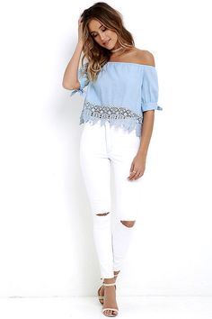 7b647e013bc356 No Place Like Home Blue Chambray Lace Crop Top