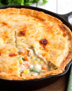 """This Double Crust Chicken Pot Pie is made using one of my favorite kitchen tools, my cast iron skillet. I really don't know what I would do without my cast iron skillets they are my """"go to"""" when it comes to pans in my kitchen. They hold and distribute t Cast Iron Skillet Cooking, Iron Skillet Recipes, Cast Iron Recipes, Skillet Chicken Pot Pie Recipe, Chicken Pot Pie Recipe Double Crust, Skillet Kitchen, Recipe Pasta, Skillet Dinners, Homemade Pot Pie"""