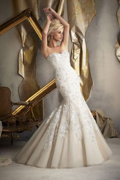 Mori Lee  TAGS:Embroidered, Fishtail, Floor-length, Pleats, Straps, Train, White, Ivory, Champagne pink, Mori Lee, Dramatic, Glamour,