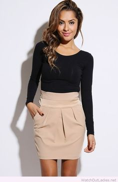 Nude skirt with a simple black blouse