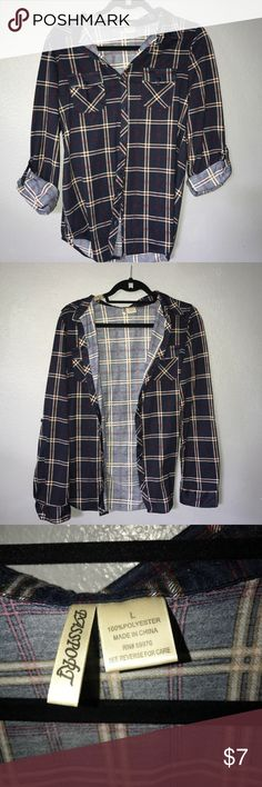 Navy blue red and white flannel from Francesca's Beautiful very soft comfortable flannel from Francesca's. Slightly used but looks great. Passport Tops