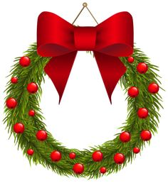 Christmas Pine Wreath with Red Bow PNG Clipart Picture