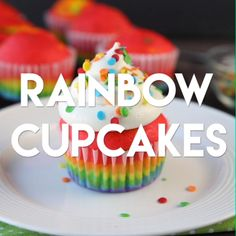 These Rainbow Cupcakes are made with a simple boxed white cake mix, colored, and. - These Rainbow Cupcakes are made with a simple boxed white cake mix, colored, and layered to make a - Frosting Recipes, Cupcake Recipes, Baking Recipes, Cupcake Cakes, Dessert Recipes, Cup Cakes, Cupcake Videos, Cupcake Frosting, Cake Cookies