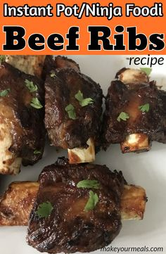 The BEST Barbecue Beef Ribs recipe - using the Instant Pot or Ninja Foodi. Beef Ribs cooked in the pressure cooker until nice and tender and then broiled with barbecue sauce until caramelized. Vegetarian Grilling, Healthy Grilling Recipes, Barbecue Recipes, Barbecue Sauce, Bbq Beef Short Ribs, Beef Back Ribs, Ninja Recipes, Rib Recipes, Recipies