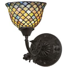 Meyda Lighting 8'W Tiffany Fishscale Wall Sconce, Green/Blue - 109518 from SHOPfreely.com at SHOP.COM