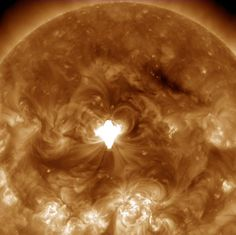 An active region just about squarely facing Earth erupted with an X 1.6 flare (largest class) as well as a coronal mass ejection on Sept. 10. The flare lasted longer than usual and sent out a burst of radiation into space. A darker wave of material was propelled across part of the Sun's surface. Images were taken in a wavelength of extreme ultraviolet light. (NASA/Solar Dynamics Observatory)