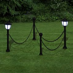 Garden Solar Lights Two Led Lamps Outdoor Chain Fence Ground Spike Yard Decor Uk Outdoor Garden Lighting, Pathway Lighting, Landscape Lighting, Home Lighting, Modern Lighting, Animal Garden Ornaments, Chain Fence, Luz Solar, Ball Lights