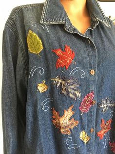 Liz Me Plus Size 3X Women Denim Jeans Shirt Designer  Fashion Hip Nature #LizMe #ButtonDownShirt