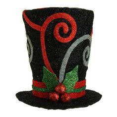 RAZ Black Swirl Top Hat Holiday on Ice Collection Christmas Decoration #trendytree #raz #tophat