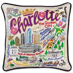 CHARLOTTE HAND-EMBROIDERED PILLOW - geography (hand-embroidered) - pillows…