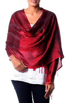 Banarasi silk shawl, 'Ruby Sunset' - Banarasi silk shawl (image 2a)