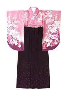 着物:ピンク / 夢咲雅袖 袴:濃紫 / 織小花 Kimono: Yumesaki Miyabi Sode Hakama: Ori Kobana