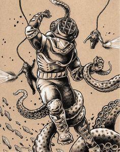 Danger Dive scuba diver pen and ink illustration by bryancollins (Art & Collectibles, Prints, Digital Prints, nautical, vintage, bell, helmet, octopus, tentacles, kraken, pop, squid, sea, monster, ocean, drawing)