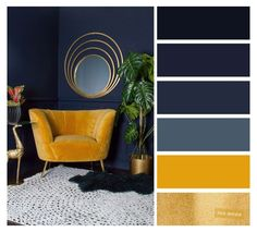 Mustard Living Rooms, Navy Living Rooms, Living Room Decor, Blue Yellow Living Room, Mustard Bedroom, Good Living Room Colors, Living Room Color Schemes, Colour Schemes, Color Palettes