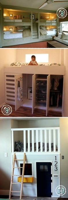 The last one is my favorite, a little play house below the bunk bed is a genius idea. The last one is my favorite, a little play house below the bunk bed is a genius idea. Cute Bedroom Ideas, Awesome Bedrooms, Cool Rooms, Bed Ideas, Decor Ideas, Bunk Beds With Stairs, Kids Bunk Beds, Bunkbeds For Small Room, Corner Bunk Beds