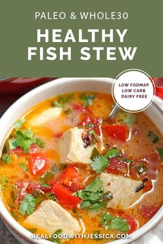This Paleo Fish Stew is quick easy and delicious Made in 20 minutes makes it a great weeknight dinner Gluten free dairy free low carb and low FODMAP via realfood. Paleo Recipes Easy, Whole 30 Recipes, Fodmap Recipes, Fish Recipes Dairy Free, Free Recipes, Seafood Recipes, Soup Recipes, Chili Recipes, Drink Recipes