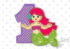 Cute Mermaid Number 1 Applique HB081
