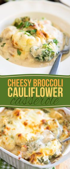This healthier Cheesy Broccoli Cauliflower Casserole is a delicious way to sneak more cauliflower and broccoli into your kids' diet, and probably yours too!